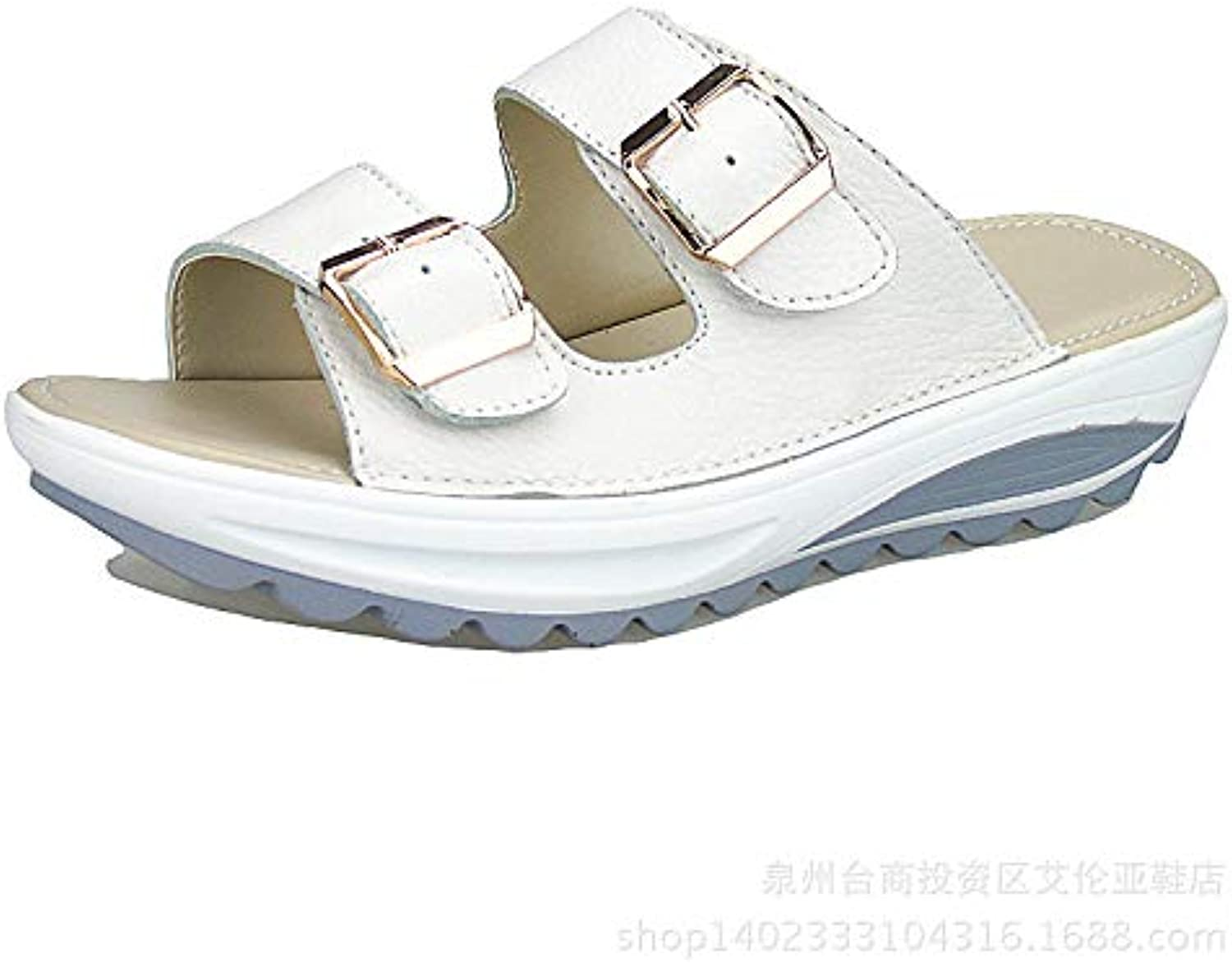 2ea7733ac8b190 ZHRUI Buckle Straps Adjustable Sandals for Adjustable Women nhta-30292  Sandals Leather Platform Rocker sole Shoes (Color : White, Size : UK.