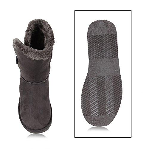 Kuschelweiche Stiefel Gefüttert Warme Damen Stiefeletten Grau