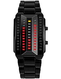 FeiWen Fashion Binario Digitales Relojes de Pulsera de Hombre y Mujer Calendario Rojo Amarillo LED Luminosidad