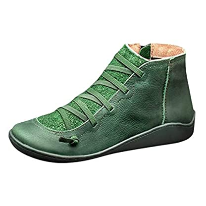 2019 New Women's Ankle Boots Ladies Casual Arch Support Boots Waterproof Boots Flat Slip On Boots Comfy Booties Vintage High Top Side Zipper Shoes Outdoor Anti-Slip Walking Boots 5