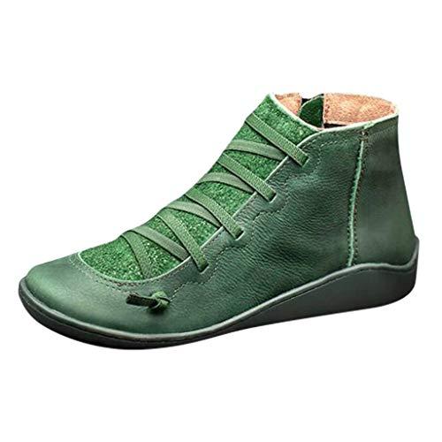 DOLLAYOU Stiefeletten Damen Mit Absatz Flach Leder Reißverschluss Wasserdicht Schuhe Riemchen Elegant Vintage Boots Herbst Winter Stiefel Bequem