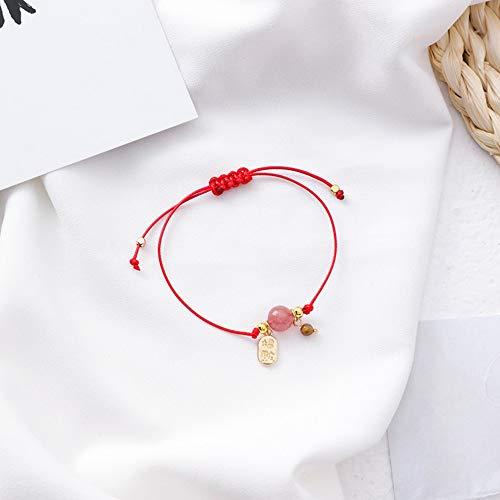 ZGRJIUERYI Armband,Roter Metallanhänger Mit Perlen Aus Naturstein, Kleines, Frisch Und Einfach Gewebtes Rotes Seilarmband Aus Einem Kreis, Handgefertigt, Personalisiertes Bekleidungszubehör