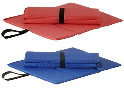 Sitzkissen faltbar mit Halteschlaufe, Blau oder Rot, Perfekt als Stadionkissen, Stuhlkissen, Stuhlauflage (Rot)