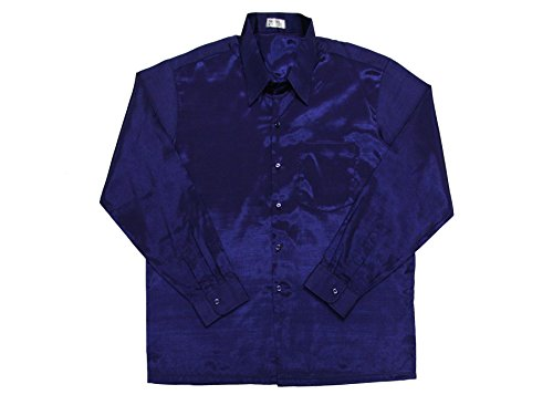 Thai Silk -  Camicia Casual  - Uomo Design #6 Dark Blue