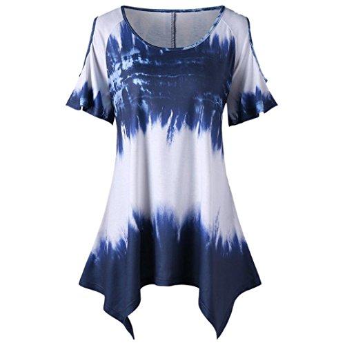 OSYARD Damen Mode Übergröße O-Ausschnitt Kurzarm Print Open Schulter T-Shirt Tops(EU 46/XL, Blau)