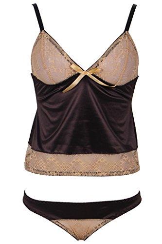 HO-Ersoka Damen Dessous Set Frauen Hemdchen & Panty Spitze Satin-Look braun/gold S-M (Hemdchen Set 2-teiliges)