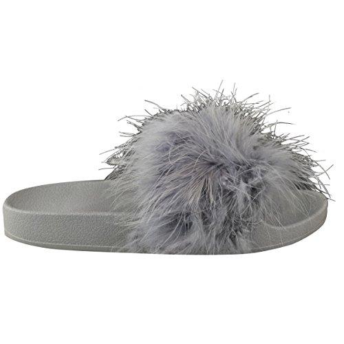 Soft Woman À Fourrure Slide Shoulder Chaussures Confortable Low Sandales En Caoutchouc Summer Taille Gris Faux Marabou