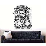 Fushoulu 42X54CmVinyle Mur Stiker Barber Shop Hipster Autocollant Mural Vinyle Barber Shop Papier Peint Amovible Barber Shop Autocollant Mural Décor