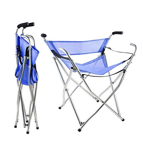 Freshore Canes und Walking Sticks Sitz klappbar 300lbs - Sport Sitz Cane 4 Hocker Walker für Camping Baston Con Asiento (XL Größe Blau) (Arm Folding Chair)