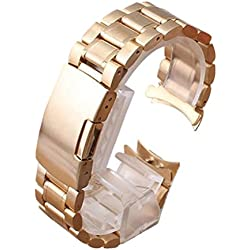 PIXNOR 22mm Stainless Steel Bracelet Watch Band Strap - Rose Gold Solid Links Curved End
