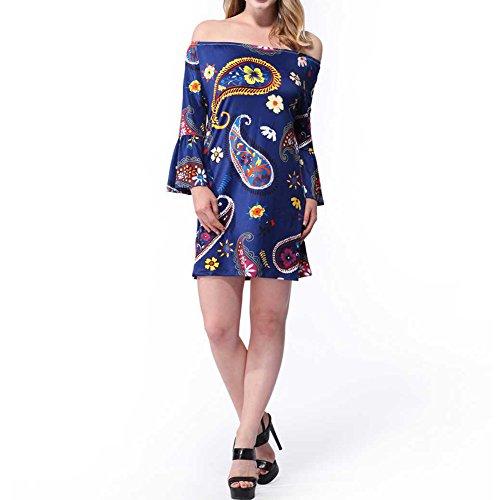 Haodasi Sommer Sexy Mantel Kleider Damen Rock Mehrfarbig Blumen Print Bleistift Beach Party Dress Blue