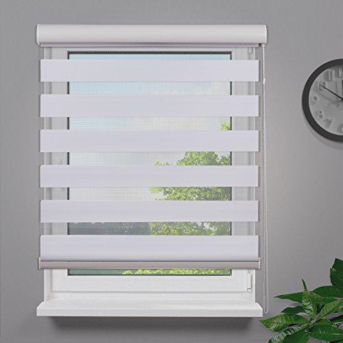 Fensterdecor Duo-Rollo Doppelrollo mit Aluminiumkassette / Weiß 160 x 180 (BxH)