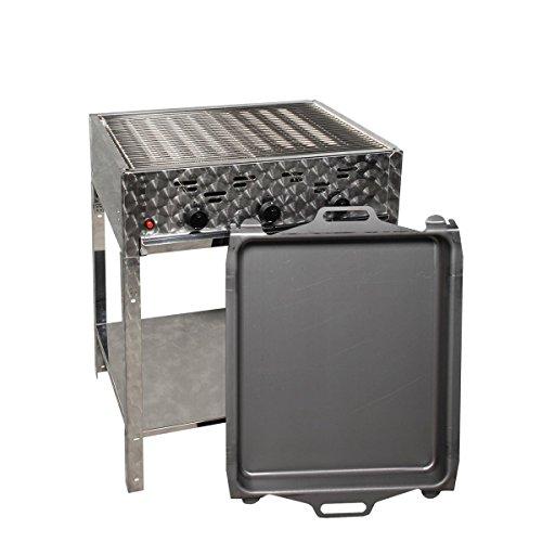 LAG Gasgrill-Kombibräter 12 kW Standmodell mit Grillrost und Stahlpfanne 3-flammig Gasgrill Grill Gastrobräter Profigrill Verein