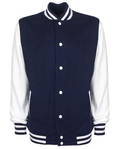 FDM Unisex College-Jacke, kontrastfarbene Ärmel Mehrfarbig - Navy / Weiß