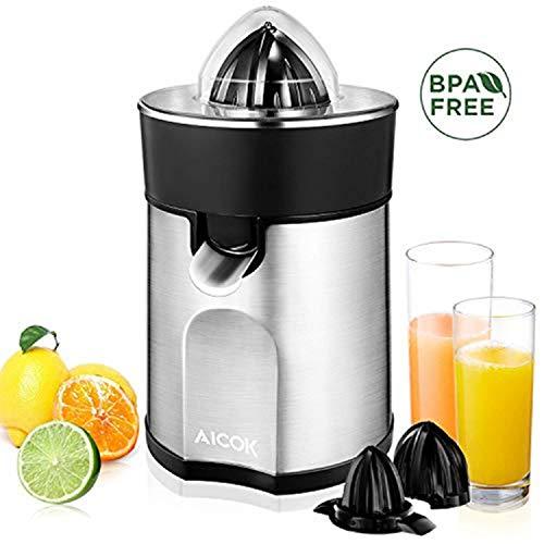 AICOK Zitruspresse Elektrisch 85 W Edelstahl Zitruspresse (2 Autom Presskegel für Zitronen/Orangen), Tropf-Stopp-Funktion, spülmaschinenfest, BPA-frei, Organgenpresse & Citruspresse