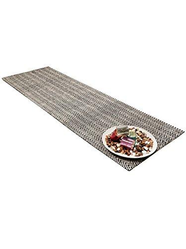benuta Teppich Läufer Ives, Baumwolle, Sisal/Jute, Schwarz / Weiß, 80 x 300.0 x 2 cm (Schwarz Und Weiß Chevron Teppich)