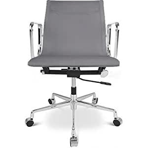 Chaise bureau-style Aluminium Group EA 117 C.Eames-Tissu - Roulettes Gris clair
