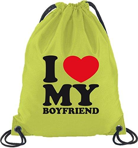 Shirtstreet24, I LOVE MY BOYFRIEND,Valentinstag Turnbeutel Rucksack Sport Beutel Limone
