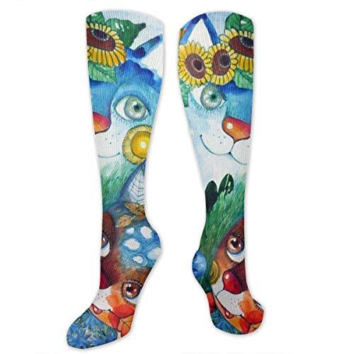 NFHRREEUR Knee High Socks Cat Mom and Baby Sunflower Compression Socks Sports Athletic Socks Tube Stockings Long Socks Funny Personalized Gift Socks for Men Women ()