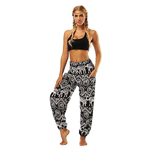 Harem Femmes Taille Smockée Pantalon Size Oyabeautye Boho Pantséléphant Sarouel NoirOne b7gYfy6v