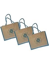 Maheshwari Jute Bag For Lunch & Shopping, Light Blue, 15 X 4 X 12 Inches, Pack Of 3 Bags