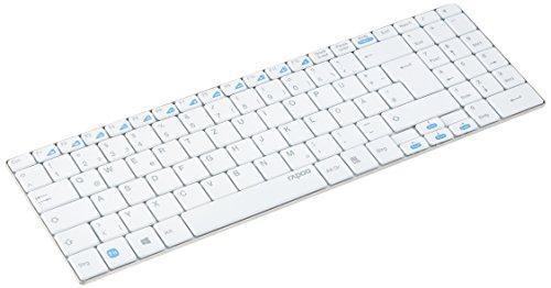 Rapoo N7200 ultraschlanke kabelgebundene Tastatur mit Edelstahl Gehäuse (5,6 mm dünn, Fn-Multimedia-Tasten, USB, für Apple, MAC, iPad, iOS, QWERTZ deutsches Layout) weiß
