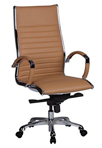 Beige Fliesen-böden Legen (FineBuy Design Bürostuhl Echt Leder Caramel | Schreibtischstuhl mit Armlehnen - Höhenverstellbar mit Wippfunktion | Ergonomischer Chefsessel mit hoher Lehne bis 120 KG)