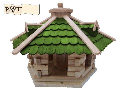 Vogelhaus, XXL Vogelvilla Vöglehus Vogelhäuser Großes Vogelhaus, aus Holz SG50grMS mit Ständer Futterhaus GRÜN - 2