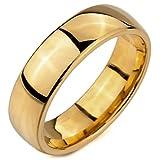 MunkiMix Breite 6mm Wolframcarbid Wolfram Ring Band Golden Ton Bequeme Passform Hochzeit Größe 62 (19.7) Herren