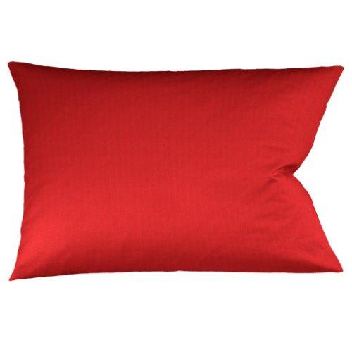 fleuresse Bügelfreier Kissenbezug mit Nadelzug, 40x80 cm, 100% Baumwolle, rot thumbnail