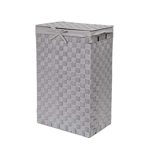 Compactor Home Storage Incrustaciones de 38 cm cinturón Tex rayón Cesta para la Ropa Sucia con Tapa y Lino en el Interior, Gris, Belt, Applicable