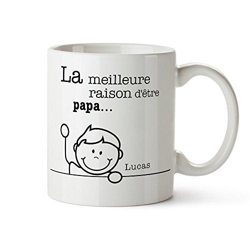Tasse imprimée - Meilleures raisons Papa - Mug personnalisé avec noms - Tasse à café individuelle blanche comme cadeau d'anniversaire - Idées cadeau pour papa - Cadeau de fête des pères