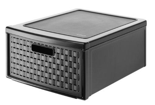 Rotho Schubladenbox Country in Rattan-Optik aus Kunstoff (PP): schwarze Aufbewahrungsbox der Größe 45x34x20 cm, Volumen der Ablagebox 19.2 l, als Schubladeneinsatz oder Schubladensystem geeignet