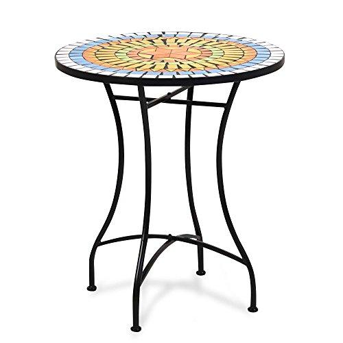 Homy Bistrotisch Mosaiksteine Metall Rund 60cm Mosaikplatte Mehrfarbig - Sevalla