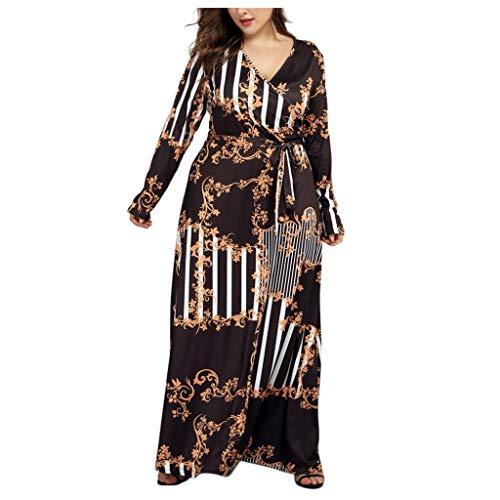 Bedruckte Seide Organza-kleid (UYSDF Damen Mode Plus Größe V-Ausschnitt Lange Ärmel Gedruckt Bandage Kleid Bezaubernd Maxi Kleid)
