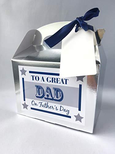 Purpleproducts - biglietti vuoti per la festa del papà, in confezione regalo con targhetta, colore: argento metallizzato