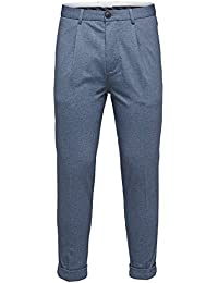 Selected Homme Herren Hose - Cropped Ankle Pants - Chino Hose - Blau