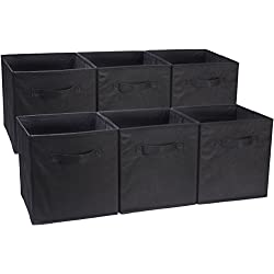 AmazonBasics Lot de 6 cubes de rangement pliants, Noir