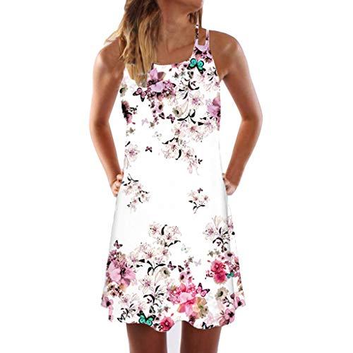 MiniKleid Camisole Drucken Blumen Rundhals Schulterfrei Sommerkleider Strandkleider LäSsige Elegant Festlich Muttertagsgeschenk(C-Hot Pink,EU-44/CN-2XL) ()