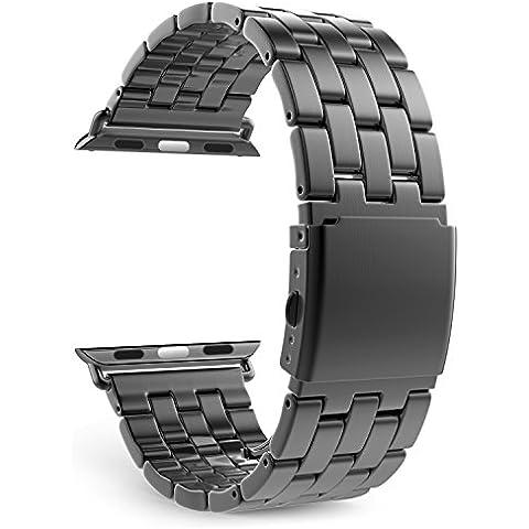 MoKo Apple Watch SERIES 1 / 2 Correa - Reemplazo SmartWatch Band de Reloj Acero Inoxidable con Doble Botones Plegable para Apple Watch 42mm, Gris Espacial (NO ADPTA PARA 38mm / NO INCLUYE