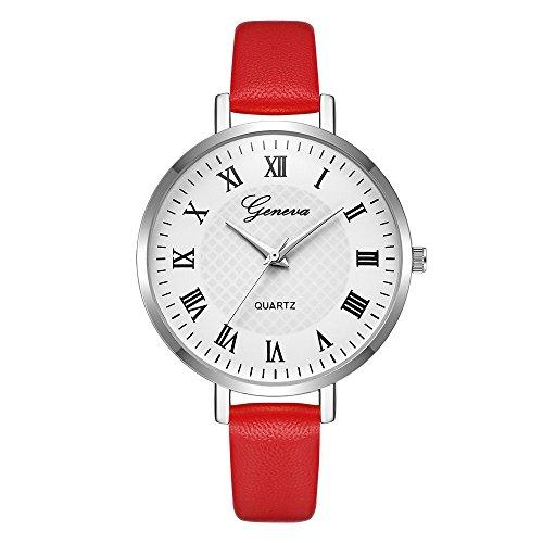 Luckhome Damen Multi Zifferblatt Quarz Uhr Mit Leder Armband Mode Frauen Uhren Band Analog Runde Legierung Armbanduhr Geschenk Geneva Watch Gürtel(H)