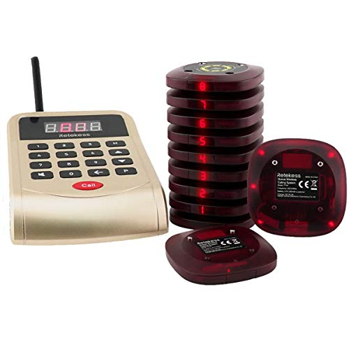 Retekess T118 Kundenrufsystem Restaurant Pager System Anrufsystem 1 Kellner Anrufkeypad mit 10 Kunden Pager Empfänger Raum sparen wasserdicht Anrufgeschichte im Fastfood Bar Hotel Kirche Krankenhaus