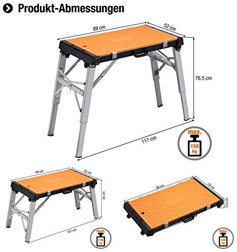 Meister Universal-Werkbank 4 in 1 ✓ Tritt-Hocker ✓ Rollbrett ✓ Transportroller | Mobiler Arbeitstisch mit Tragegriff | Höhenverstellbare Werkzeugbank | Werktisch mit wendbarer Arbeitsplatte | 9079600 - 2