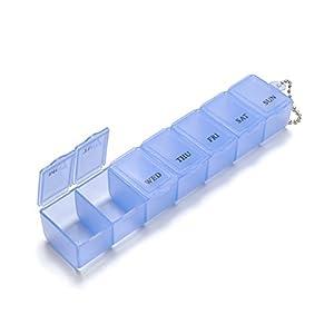 iSuper Pillendose für 7Tage, Pillendose, Medizin-Box und Pille Medizin und täglichen Vitamin Pillendose-Organizer für Reisen (blau)