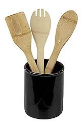 Home Basics Ceramic Cutlery Holder (Black)
