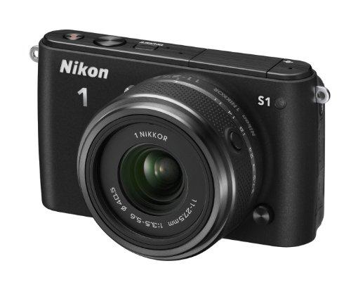 Nikon 1 S1 Systemkamera (10 Megapixel, 7,6 cm (3 Zoll) LCD-Display, Full HD) Kit inkl. 1 Nikkor 11-27,5 mm Objektiv schwarz