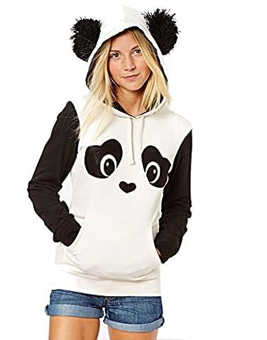 Superbaby Femme Casual Panda mignon capuche filles Tops Sweat Imprimé Blanc Noir - Blanc - XL