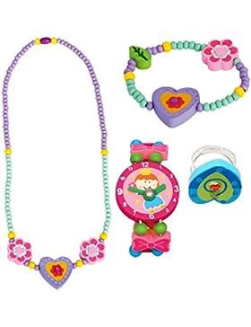 4 tlg. Set Mädchenschmuck Motiv Herz lila - Halskette Armband Uhr Ring - VERSANDKOSTENFREI nach BRD