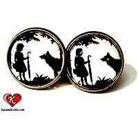 Rotkäppchen☀ Kleine Scherenschnitt Märchen Ohrstecker bronze 16mm, handmade, ein süßes handgefertigtes Geschenk für die liebste Schwester oder die beste Freundin