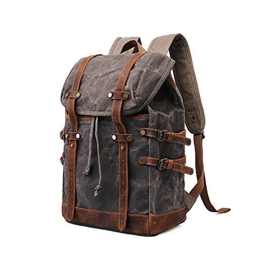 CZDZSWXXX Raincoat Computer-Rucksack Außen Wandern Reisen Canvas Rucksack Retro Herren-Tasche 32 * 16 * H43CM (Farbe : Gray) -